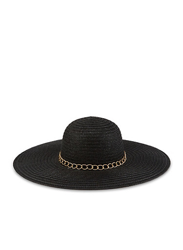 Chain Detail Floppy Straw Sun Hat,BLACK,large