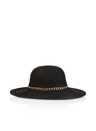 Chain Detail Sun Hat,BLACK,large