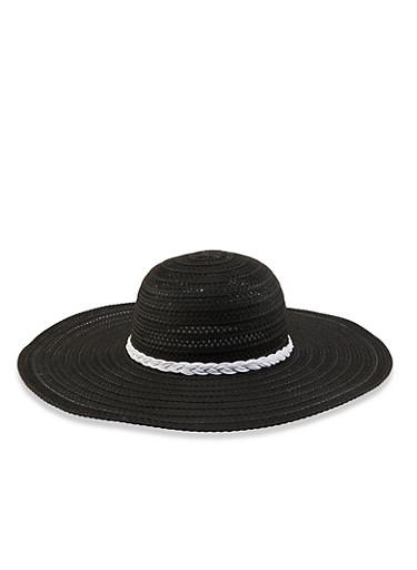 Braided Floppy Sun Hat,BLACK,large