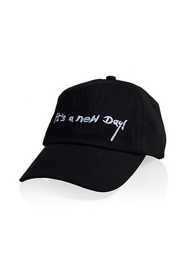 Its A New Day Embroidered Baseball Hat,BLACK/WHITE,large