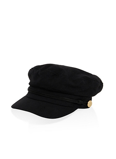 Metallic Detail Newsboy Hat,BLACK,large