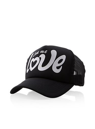 Love Me Love Graphic Trucker Hat,BLACK/WHITE,large