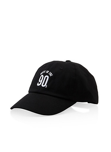 Made in the 90s Graphic Baseball Cap,BLACK,large