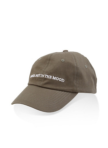 Mood Graphic Embroidered Baseball Cap,OLIVE,large