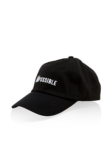 IMpossible Embroidered Baseball Cap,BLACK/WHITE,large
