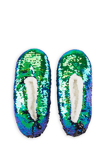 Reversible Sequin Slippers,TEAL,large