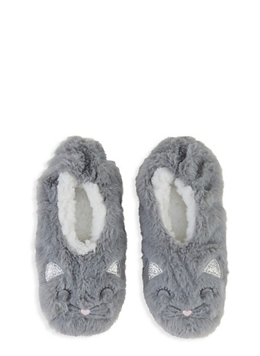 Glitter Animal Embroidered Slippers,GRAY,large