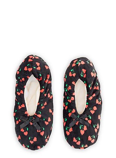Fruit Print Slippers,BLACK,large