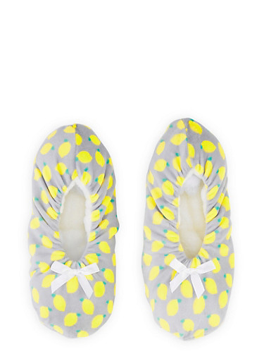 Fruit Print Slippers,GRAY,large