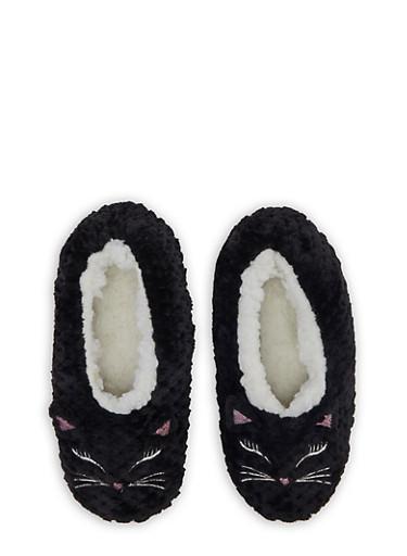Sherpa Animal Slippers,BLACK,large