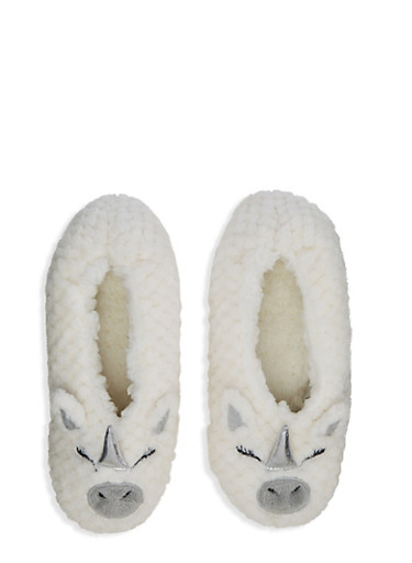 Sherpa Animal Slippers,IVORY,large