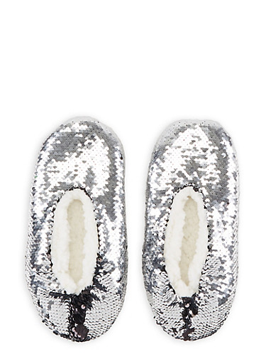 Reversible Sequin Slippers,SILVER,large