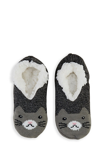 Critter Knit Slippers,BLACK,large