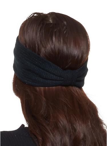 Waffle Knit Headwrap,BLACK,large
