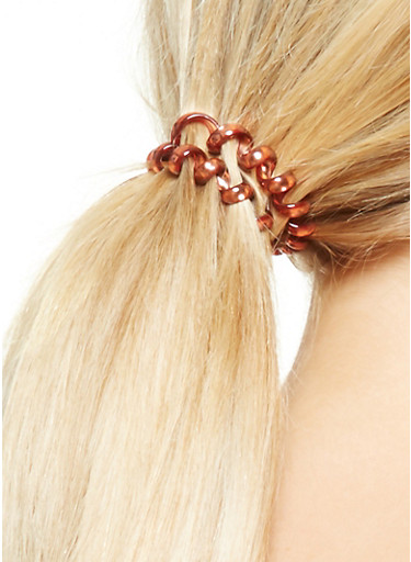 Set of 4 Flexible Cord Hair Ties,YELLOW,large