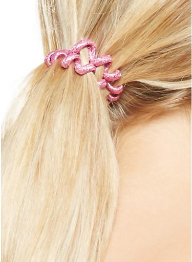 Set of 4 Flexible Cord Hair Ties,FUCHSIA,large