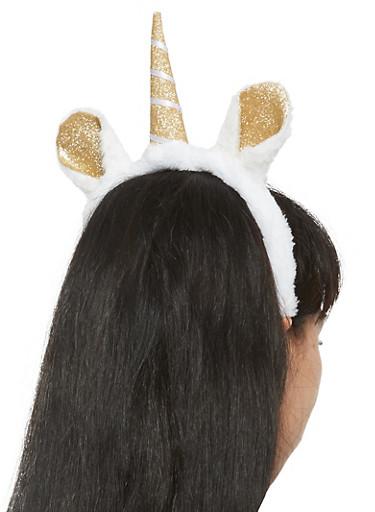 Plush Glitter Unicorn Headband,WHITE,large