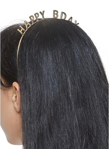 Happy Bday Metallic Headband,GOLD,large
