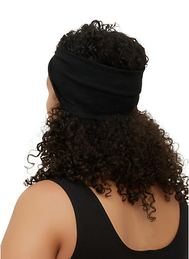 Waffle Knit Twist Front Head Wrap,BLACK,large
