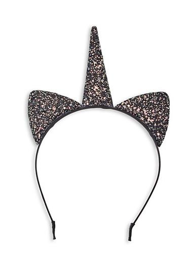 Glitter Unicorn Headband,BLACK,large