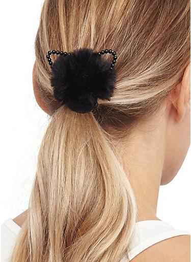 Set of Animal Ear Pom Pom Hair Ties,BLACK,large