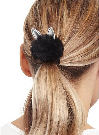 Set of Animal Ear Pom Pom Hair Ties,SILVER,large