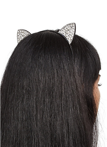 Rhinestone Studded Cat Ear Headband,BLACK,large