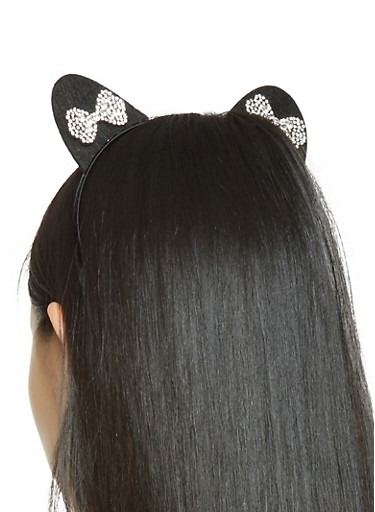 Rhinestone Bow Cat Ear Headband,BLACK,large