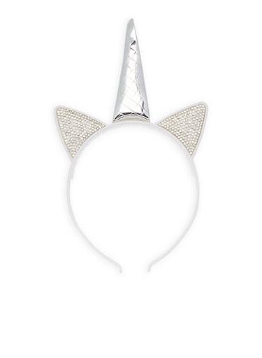 Rhinestone Unicorn Headband,SILVER,large