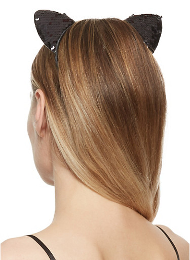 Reversible Sequin Cat Ear Headband,BLACK,large
