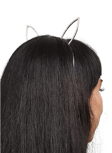 Rhinestone Bunny Ear Headband,SILVER,large