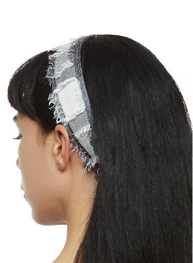 Frayed Head Wrap,BLACK/WHITE,large