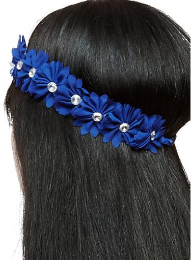 Rhinestone Studded Stretch Flower Headband,NAVY,large