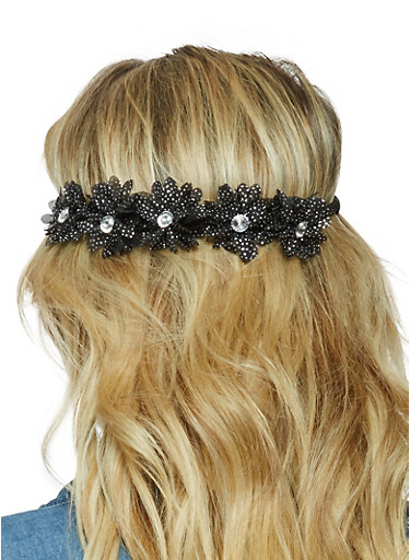 Rhinestone Glitter Flower Headband,BLACK,large