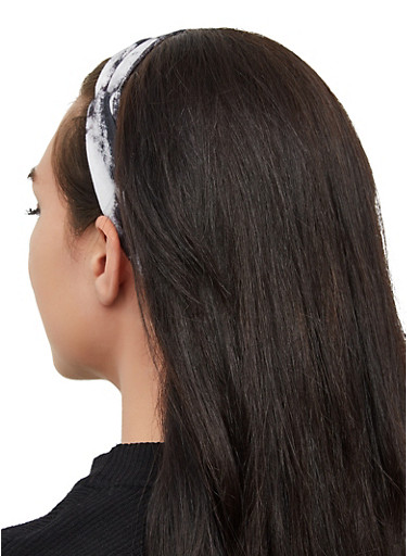 Tie Dye Knotted Head Wrap,BLACK/WHITE,large