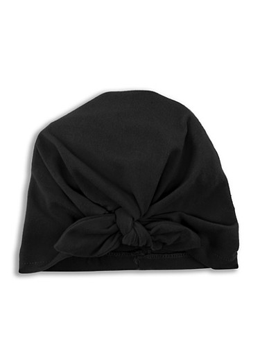 Tie Front Turban Head Wrap,BLACK,large