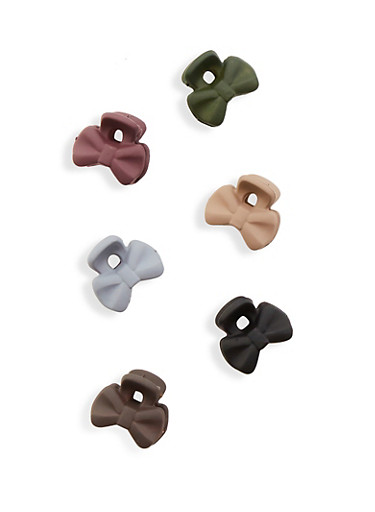 Set of 6 Bow Clips,MULTI COLOR,large