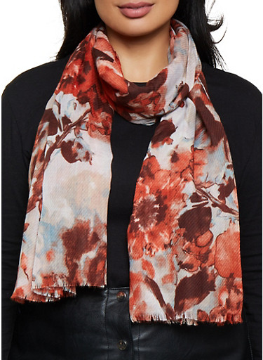 Frayed Printed Scarf,RUST,large