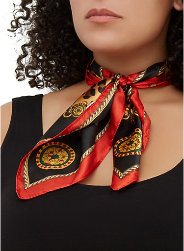 Mixed Print Square Scarf,RED,large