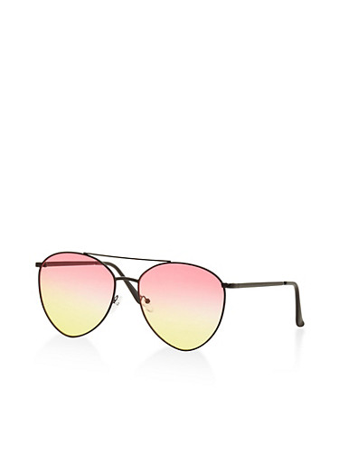 Colored Lens Aviator Sunglasses,BLACK,large