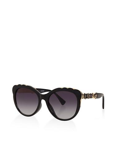 Metallic Flower Detail Sunglasses,BLACK,large