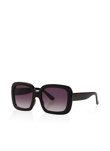 Square Plastic Sunglasses,BLACK,large
