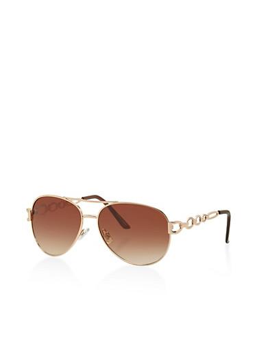 Metallic Link Aviator Sunglasses,GOLD,large