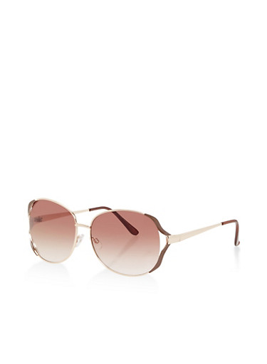 Cut Out Aviator Sunglasses,BROWN,large