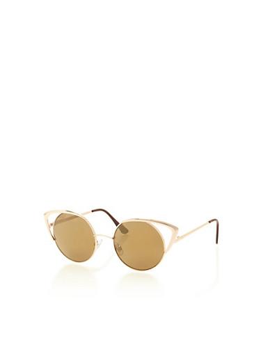 Circular Cat Eye Sunglasses,GOLD,large