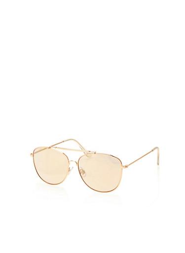 Top Bar Metallic Sunglasses,PINK,large