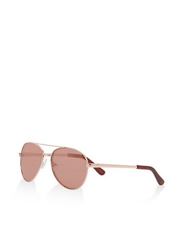 Mirrored Metallic Aviator Sunglasses,ROSE,large