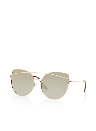 Mirrored Metallic Cat Eye Sunglasses,SILVER,large