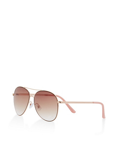 Metallic Top Bar Aviator Sunglasses,BLUSH,large