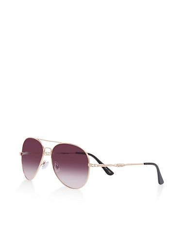 Metallic Top Bar Aviator Sunglasses,ROSE,large